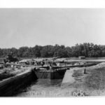 The first river lock on the C & O Canal connected the Potomac River and Rock Creek. From here boats were able to leave the canal for the coal ports. W.R. Hicks Collection Credit: National Park Service