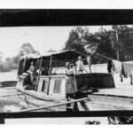 Clothing line on canal boat, Georgetown, 1920