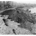 Another break in the same stretch of towpath occurred in 1957. Credit: Chesapeake & Ohio Canal National Historical Park