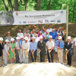 In August 2010, a ground-breaking ceremony was held near Big Slackwater. The image captures numerous contributors whose dedication and support spurred the project's start, nearly 20 years of effort. Credit: C&O Canal National Historical Park