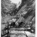 A 1956 photograph of the work on the board walk leading to the Paw Paw Tunnel downstream portal. Credit: National Park Service