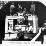 This 1881 photograph illustrates the recreational aspect of canal traffic through the tunnel. The large lantern shown on the bow served an important purpose while travelling through the 3,118 foot long tunnel. Credit: National Park Service