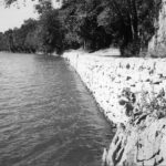 Along the pool of water created in the Potomac River from the back up of Dam 4, a towpath was created with a stone wall supporting the surface for the mules to walk on. Credit: Chesapeake & Ohio Canal National Historical Park