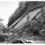 Throughout the history of the Canal, rock slides due to the formation of the shale near Paw Paw have caused damage to both the towpath and the Canal prism. Credit: National Park Service
