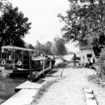 Tourists traveling along the canal take a break at Lock 24 before continuing on their journey upstream. Credit: Consolidation Coal Company Collection, Chesapeake & Ohio Canal National Historical Park