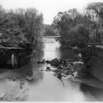 View of the collapsed center and west arch of the Catoctin Aqueduct in 1973. Credit: K. Quinn Collection, Chesapeake & Ohio Canal National Historical Park