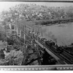 The railroad bridges at Harpers Ferry have gone through many changes over the years. This 1880s photograph depicts the two bridges used after the Civil War. Credit: National Park Service