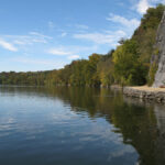 The area known as Big Slackwater offered canal boatmen a slow river current and a navigable Potomac River waterway. Credit: C&O Canal National Historical Park