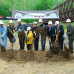 On August 7, 2010, a groundbreaking ceremony for the rehabilitation of the Catoctin Aqueduct was held. Numerous contributors helped raise money for the restoration project. Credit: C&O Canal National Historical Park