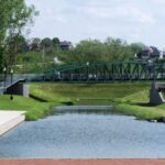 Though much of the original canal basin at the Cumberland Terminus has been filled in, you can visit a portion that has been rewatered. Credit: Chesapeake & Ohio Canal National Historical Park