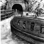 Illustration of a packet boat entering the north portal of the Paw Paw Tunnel. Credit: National Park Service