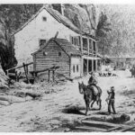 This illustration is of the building near Lock 33. Locally the building was known as the Salty Dog Saloon. The structure no longer stands but a stone house that had been attached to it still looks over the canal. Credit: National Park Service