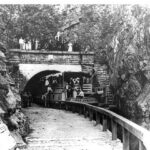 The Paw Paw Tunnel was a popular attraction along the canal. Excursionists would stop just outside the tunnel portal to get their photograph taken on top of the portal entrance. Credit: National Park Service