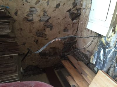 During demo: Wiring is freed from insulation