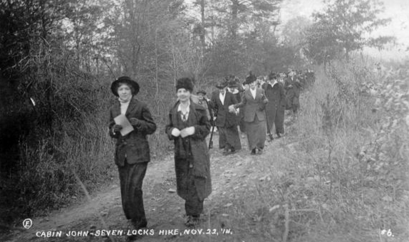 A 1914 photo shows people hiking the towpath nears Swains lockhouse.