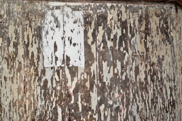 Post-demo: Patina of old paint on a wall upstairs