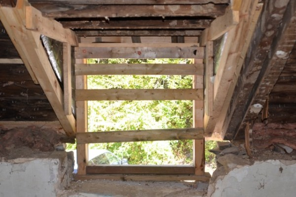 Post-demo: Back window with new framing to support the structure