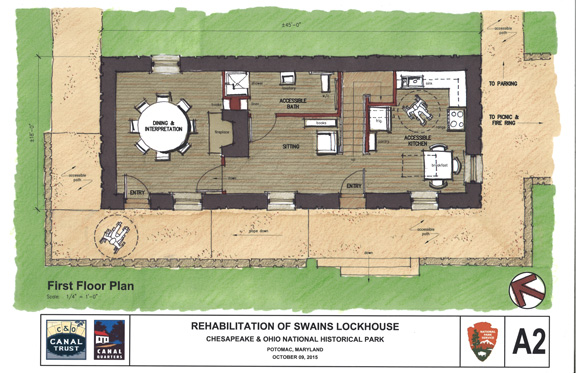 First Floor Plan Highlights: Dining and Interpretation area. Not part of the original home, this room will have a dual purpose; as a dining room for Canal Quarters guests and a special meeting location for Canal Classrooms groups when the home isn't rented. *Large accessible bathroom *Space available in sitting room for fold-out bed *Accessible kitchen