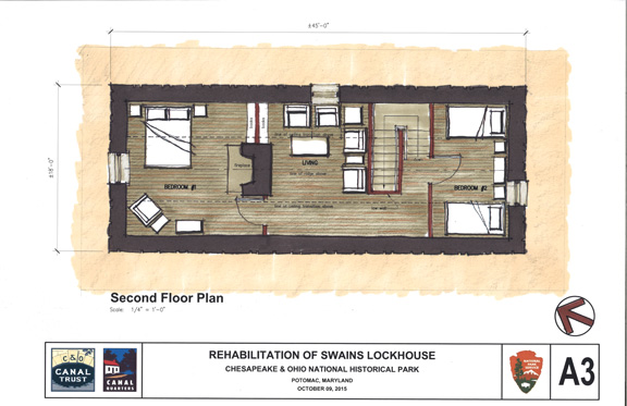 Second Floor Plan Highlights: *Large bedroom with fireplace (non-working) *Second floor living area *Smaller bedroom with twin beds.