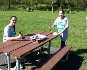 Canal Pride Volunteers repainting picnic tables.