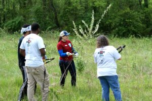 Canal Pride volunteers pulling invasive plants.
