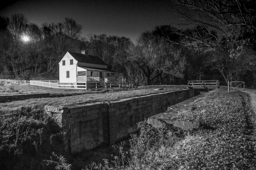 "January's Winner: ""Super Moon Rising at Lock 29, Lander Lockhouse"", by Stan Collyer"