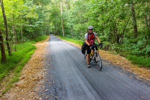 A biker on the resurfaced towpath.