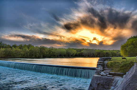 'Sky Fire' at Dam 5 by Margaret J Clingan